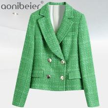 Aonibeier Za Simple Green Plaid Tweed Suit Set Fitted Blazers Female England Style Pockets Short Pant Coats Urban Outsuits
