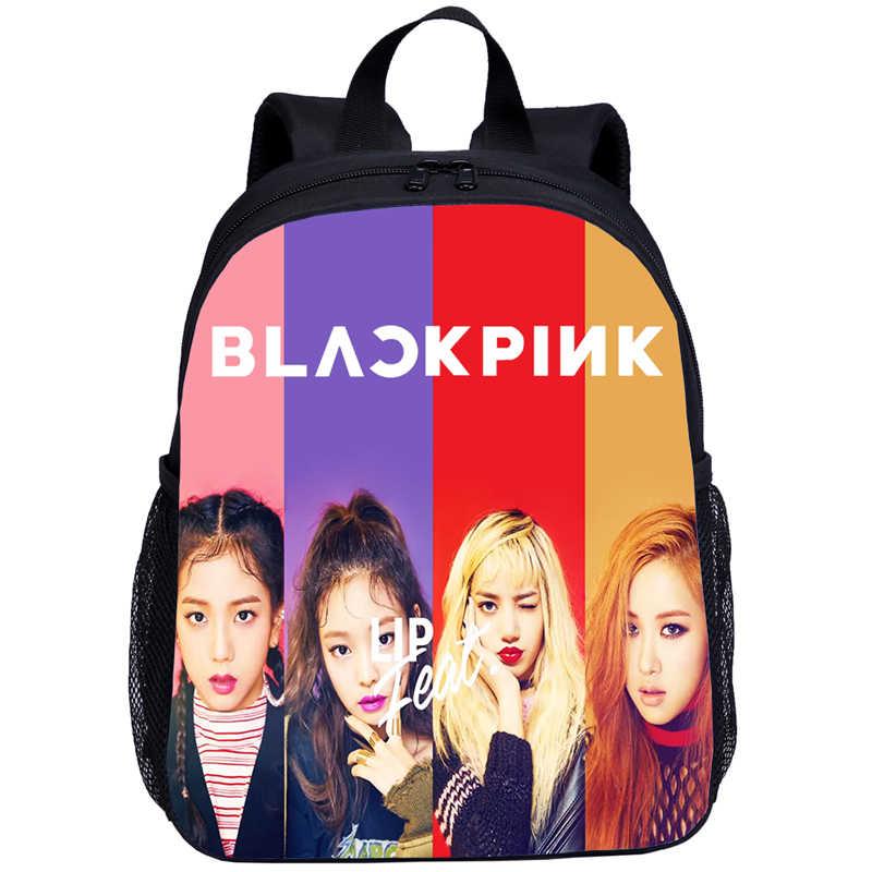 黒ピンクモナリザは、 Jisoo Jennie かわいい学校のバックパック子供のバックパック幼稚園ベビー女子校バッグ Mochila Infantil