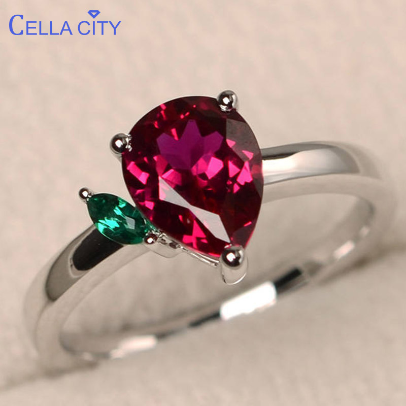 Cellacity 12 Colors Choice Silver 925 Ring For Women Fine Jewelry Water Drop Shaped Gemstones Ruby Sapphire Amethyst Topaz Party
