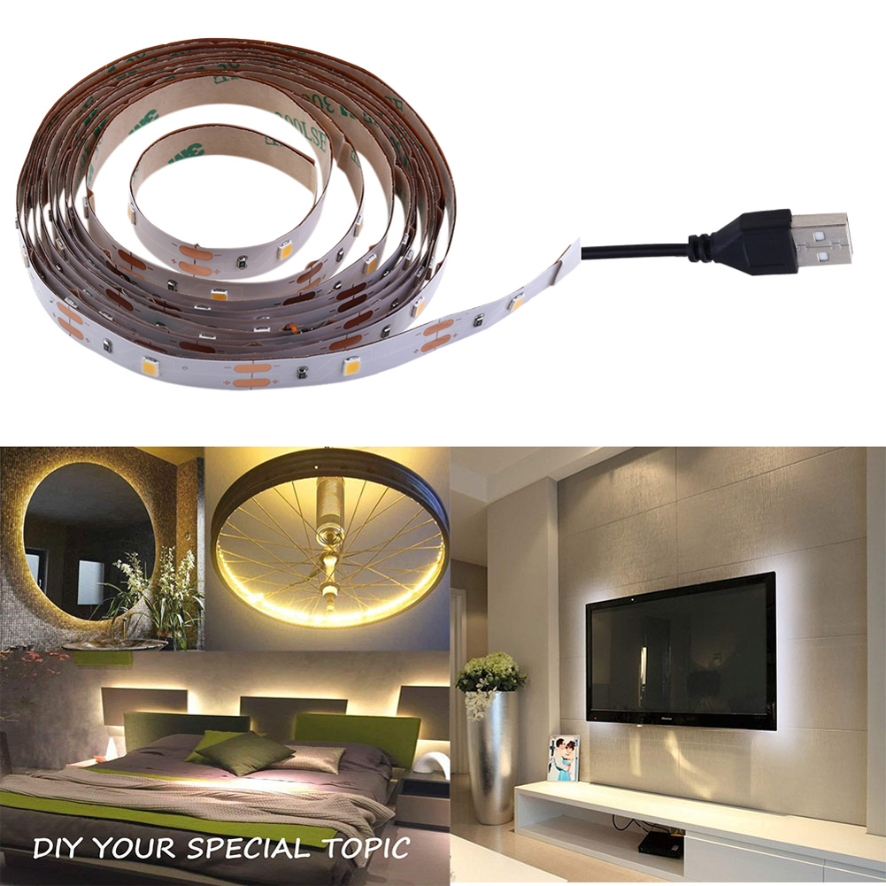 1PC 1m 30LED/2m 60LED Resin Flexible USB LED Lights Strip Ribbon 2835SMD 5V Waterproof Warm White