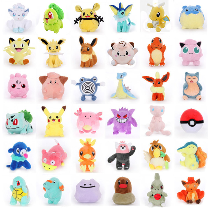 39 Kinds Charmander Plush Toy  Bulbasaur Clefairy Ditto Eevee Flareon Jolteon Gengar Vaporeon Cartoon Cuet Soft Doll For Kids