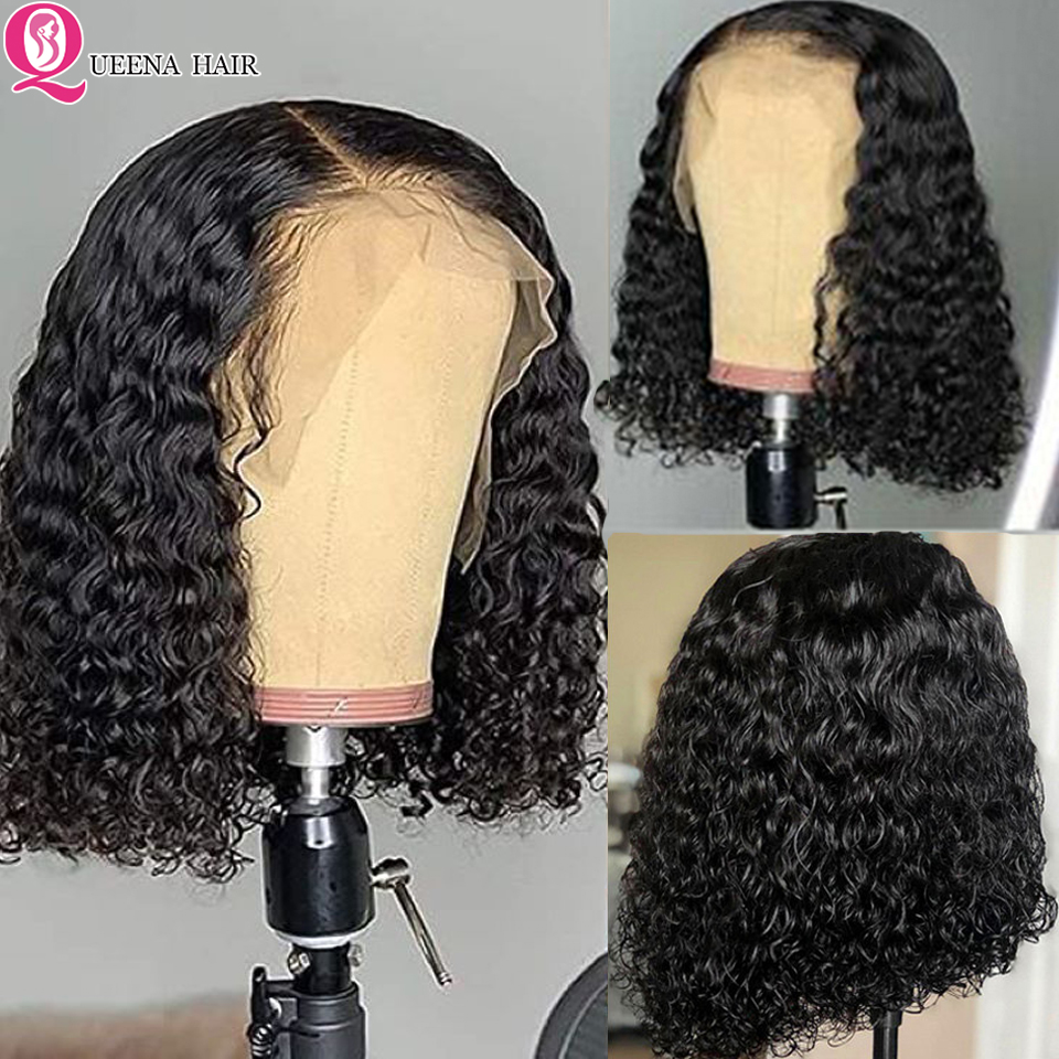 Short Curly Human Hair Wigs 13x4 13x6 Bob Transparent & Brown Lace Front Wig Remy Peruvian Pre Plucked 360 Lace Frontal Wig 150%