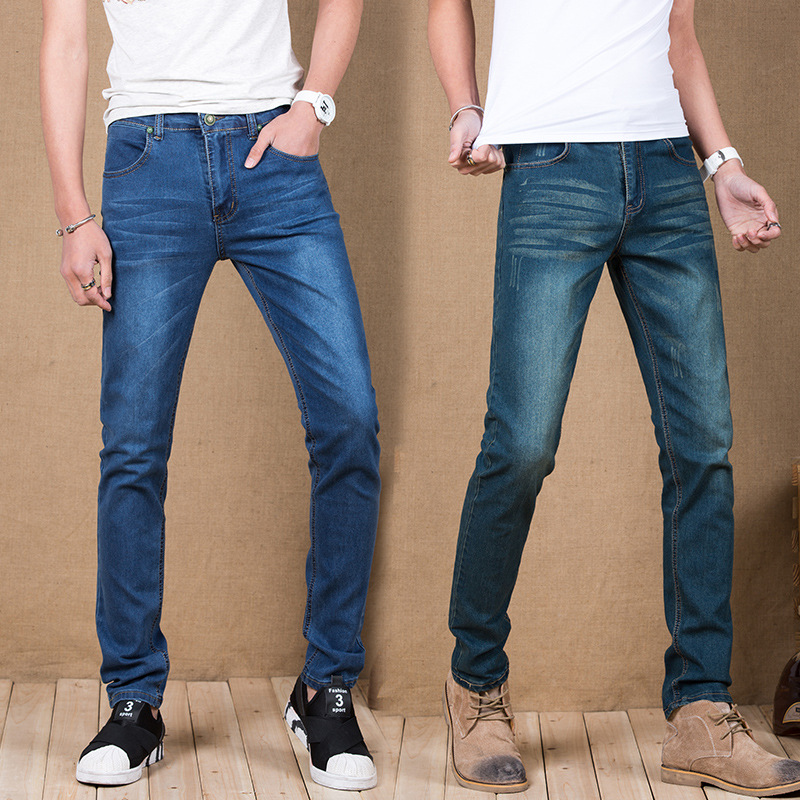 2017 Spring And Summer Men's Vintage Jeans Men Youth Slim Fit Straight-Cut Long Pants Men's Trousers Fashion