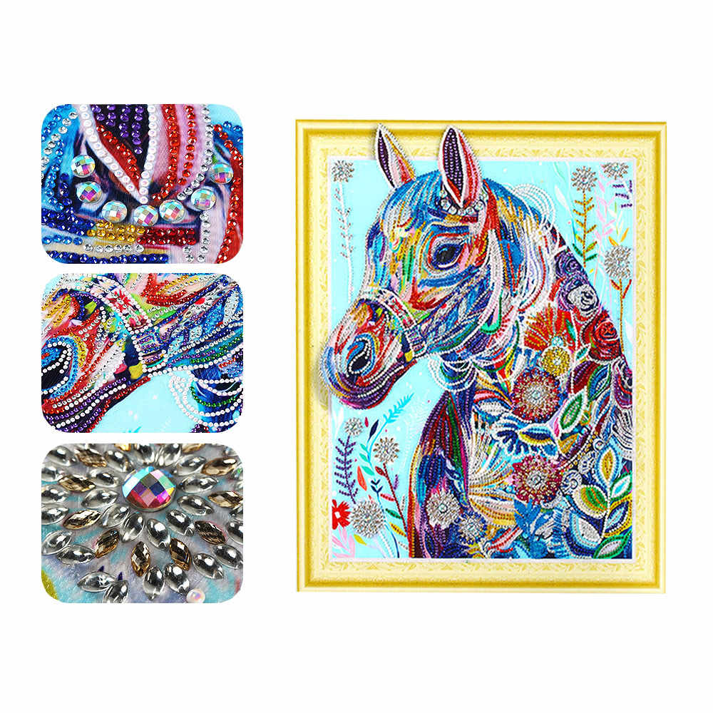 Meian חלקי יהלומי רקמת בעלי החיים סוס קריסטל עגול פסיפס מיוחד בצורת יהלום ציור Nouveaute 2019 חדש עזיבות
