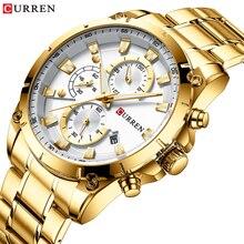 זהב שעוני גברים של יוקרה למעלה מותג CURREN קוורץ שעוני יד אופנה ספורט וסיבתי שעון עסקי זכר שעון Reloj Hombres
