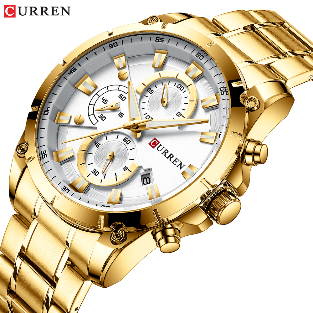 Gold Watches Men's Luxury Top Brand CURREN Quartz Wristwatch Fashion Sport And Causal Business Watch Male Clock Reloj Hombres