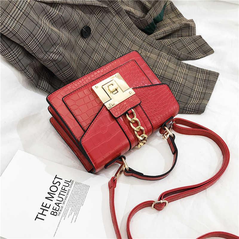 Сумки через плечо для женщин 2019 крокодиловый узор из искусственной кожи сумки почтальоны с заклепками маленькие сумки с клапаном модные женские сумки на плечо