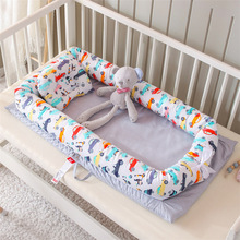 Newborn Baby Nest Bed Portable Crib Travel Bed Soft Cotton Baby Nest Lounge Bumper with Pillow Cushion YHM048