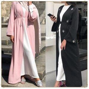Middle East Dubai Classic Muslim Open Abaya Hijab Dress Women Beading Lace-up Long Robe Abayas Islamic Clothing Musulman Jubah