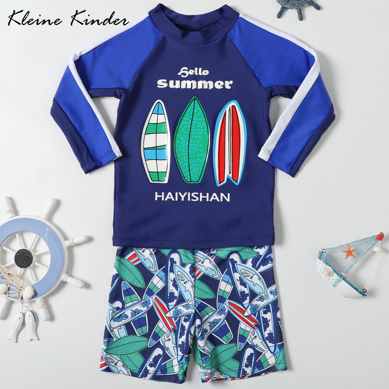 Baby Boy Swimsuit Toddler One Piece Bathing Suit Sun Protection Rash Guards Surf Swimwear with Hut 1-6t