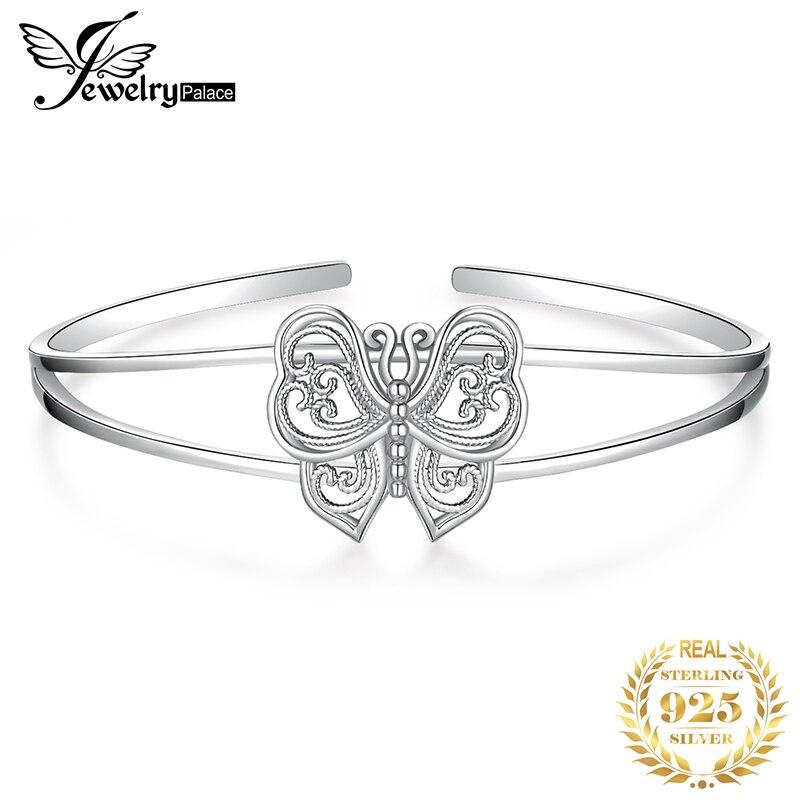 JewelryPalace Butterfly Bracelet 925 Sterling Silver Bangles Bracelets For Women Jewelry Making Organizer