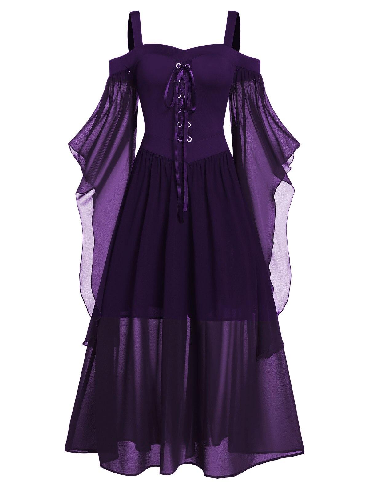 Rosegal 5XL grande taille Maxi robe froide épaule papillon manches à lacets robe d'halloween gothique fête femmes robe Vintage - 4