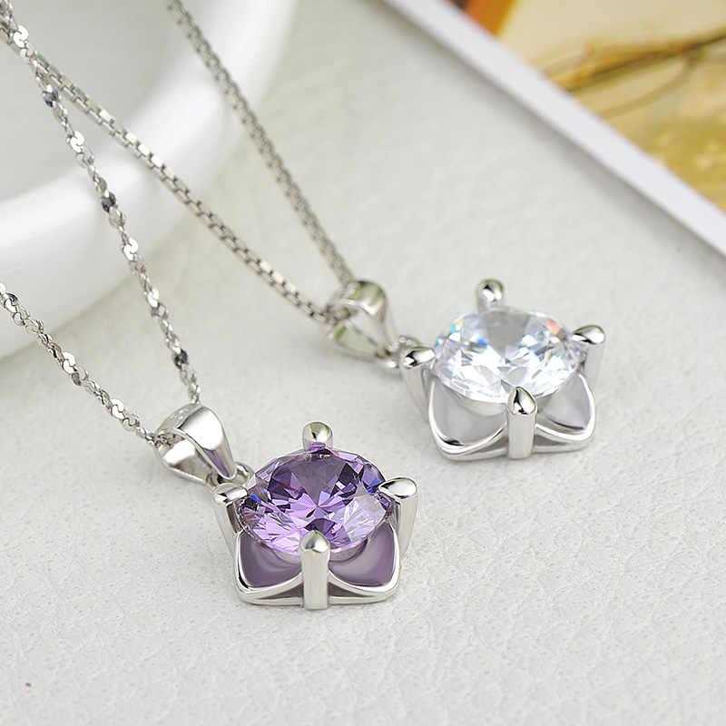 Lindo Colar de Pingente de Prata Zircão Pingente de Diamante Jóias para As Mulheres 18K Banhado A Ouro Cadeia 18 polegadas Livre com caixa