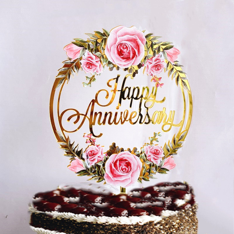 New Happy Anniversary Cake Topper Color Flowers Acrylic Birthday Cake Toppers Wedding Valentine's Party Cake Dessert Decorations