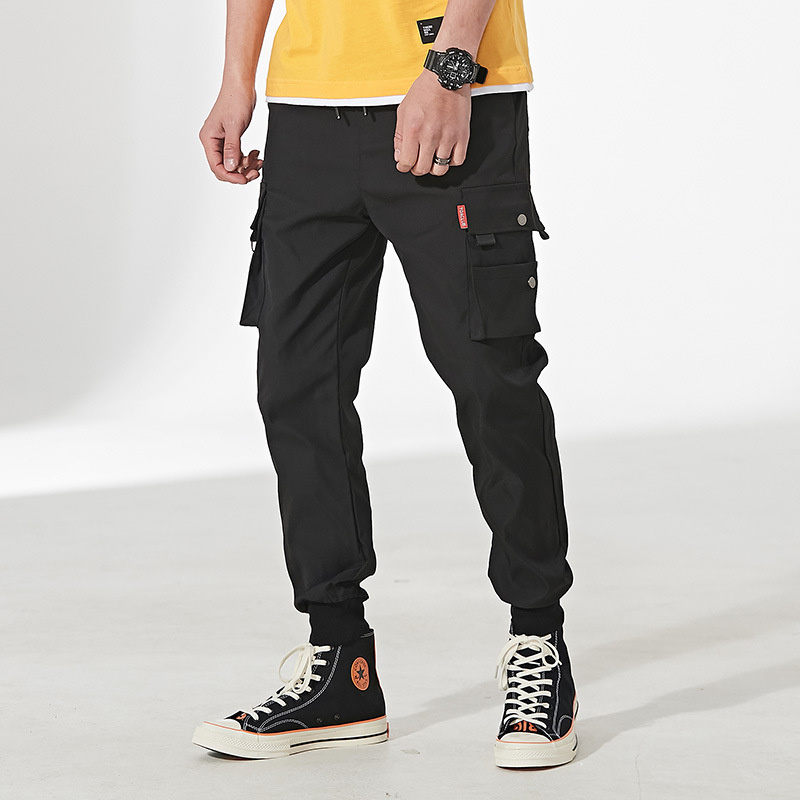 Spring Summer Bib Overall Men's Trousers Casual Pants Men Slim Fit Ankle Banded Pants Men's Harem Pants Korean-style Loose-Fit A