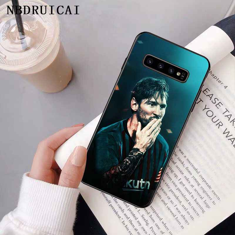 NBDRUICAI Lionel MESSI สีดำ TPU ซิลิโคนสำหรับ Samsung S9 PLUS S5 S6 EDGE PLUS S7 EDGE S8 PLUS S10 E S10 PLUS