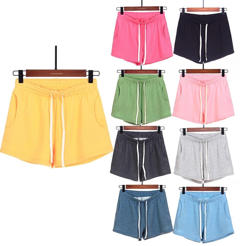 Elastic Ladies Shorts Streetwear Casual Solid Color Loose Pajamas Shorts Sports Shorts Vacation Beachwear