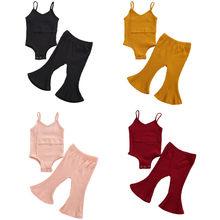 幼児ガール 2 個衣装スパゲッティストラップロンパーストップ + ロングフレアパンツ新生児女の子リブニット服セット
