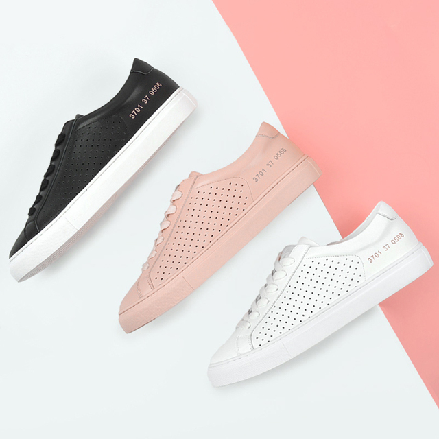 Donna in Hollow Breathable Flat Sneakers Women Genuine Leather Summer Fashion Casual Lace up Shoes