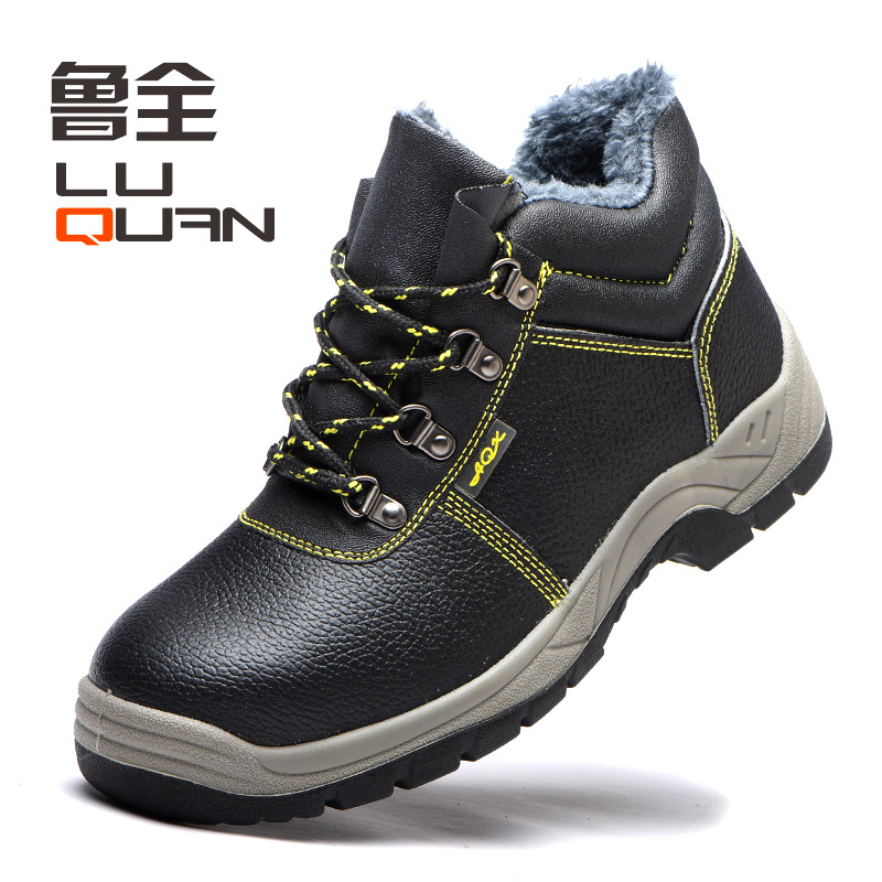 Winter Hight-top Plus Velvet Safety Shoes Anti-smashing And Anti-penetration Protective Shoes Wear-Resistant Oil Resistant Acid-