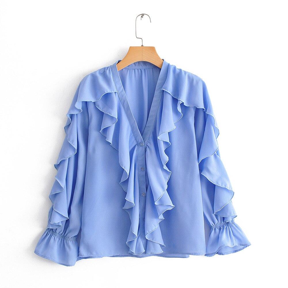 2019 Spring And Summer Women New European Style Zaraing Wholesale Decorative Laminate Shirt Long-sleeved Shirt