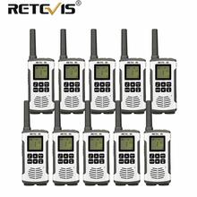 Retevis RT45 Mini Walkie Talkie 10pcs 0.5W PMR446 PMR FRS Two-Way Radio Flashlight VOX Rechargeable Walkie-Talkie Hunting Hiking