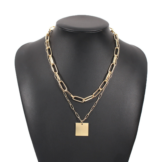 trendy geometric square necklace 2