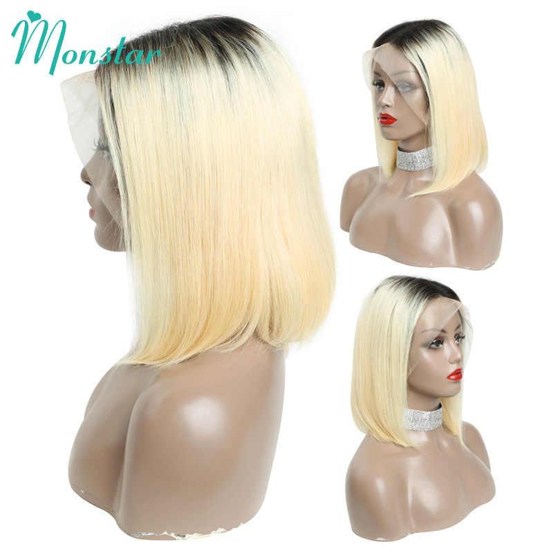 Monstar 13x6 613 blond peruki z krótkim bobem Remy brazylijski prosto 1B 613 koronkowa peruka Ombre koronki przodu włosów ludzkich peruka dla kobiet