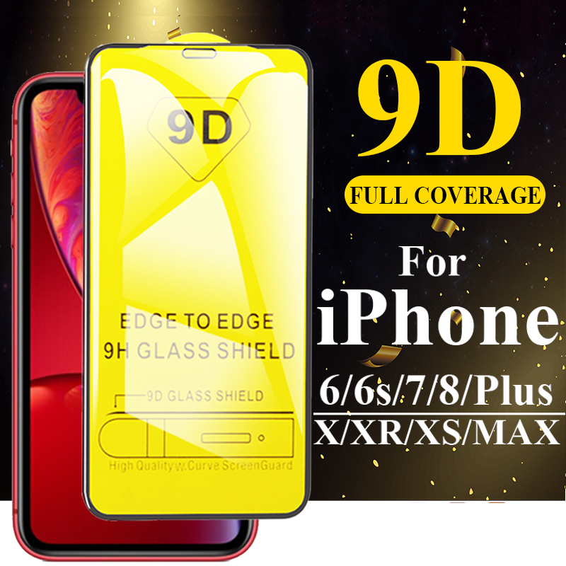 9D 9H Tempered Glass for iPhone 11 Pro Max Xs Max Xr X 6 6S 7 8 Plus 5 5S SE Full Cover Screen Protector for iPhone 11 Pro Glass-in Phone Screen Protectors from Cellphones & Telecommunications