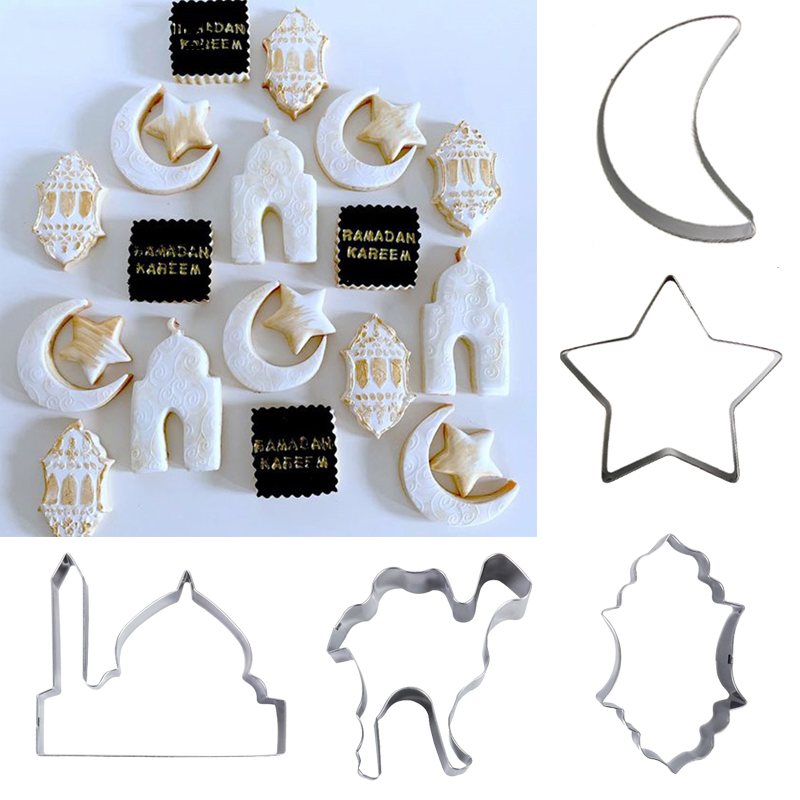 EID MUBARAK Moon Star Biscuit Mold Cookie Cutters Set DIY Cake Baking Tools Ramadan Mubarak Ramadan Kareem Party Home Decor
