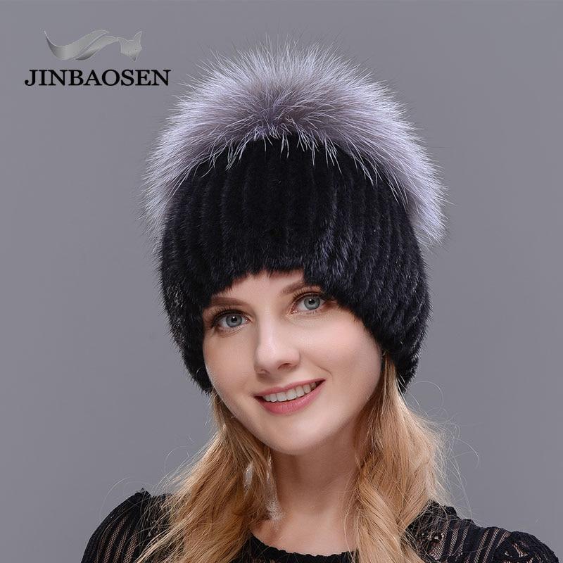 Лидер продаж, модные зимние теплые женские вязаные шапки JINBAOSEN, норковые шапки с вертикальным плетеным топом из лисьего меха