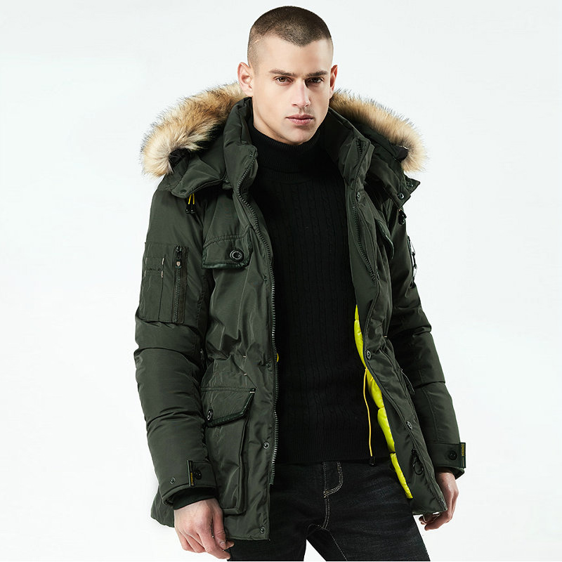 Fur Hooded Long Men Winter Jacket Thick Warm Mens Winter Coat Casual Multi-pocket Parka Streetwear Long Solid Man Outwear