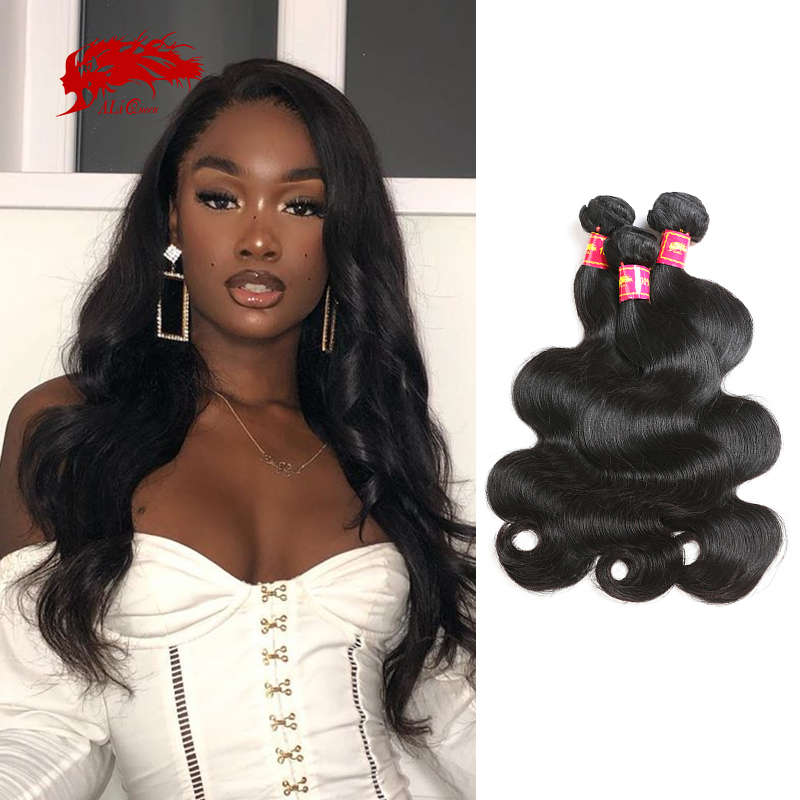 Ali Queen One-Donor Brazilian Unprocessed Virgin Human Hair Extension Body Wave Bundle Natural Color 30 32 Inch Double Drawn
