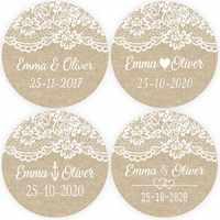DouxArt 100 Pieces Personalized Wedding Stickers, 4cm Lace Linen Wedding Favors Baptism Communion Party Decoration Gift Labels