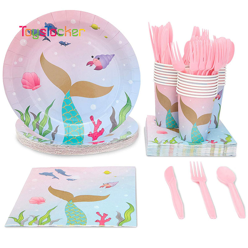 Wholesale 10pcs/lot Birthday Hot Sale Mermaids Paper Towel Napkin Cup Plate Spoon Fork Party Tissue Birthday Wedding Decoration