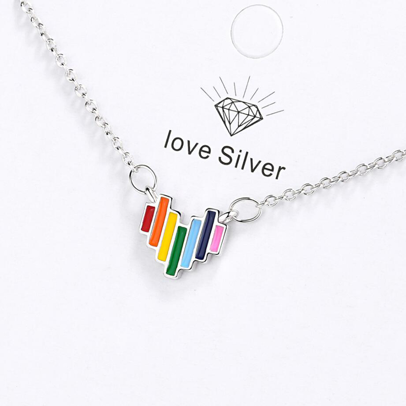 KOFSAC Hot Fashion 925 Sterling Silver Necklace For Women Valentines Day Jewelry Chic Design Rainbow Love Heart Lady Best Gift