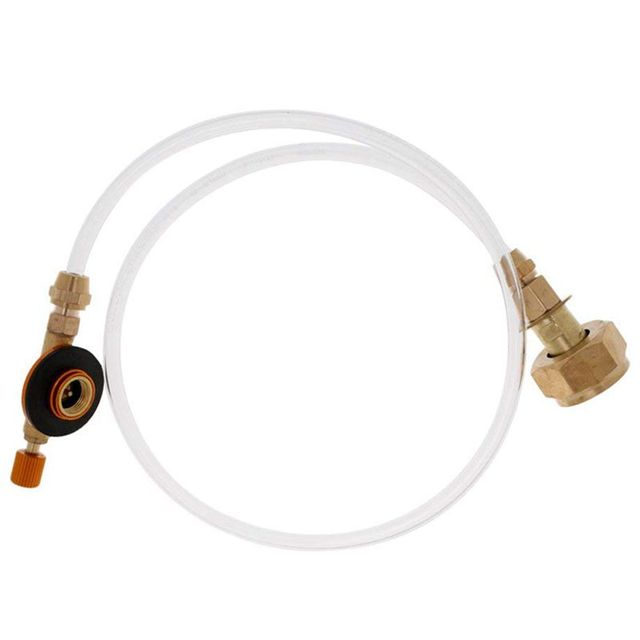 2 Stage Hose Pipe Propane Adapter for Flat Gas Tank Camping Stove