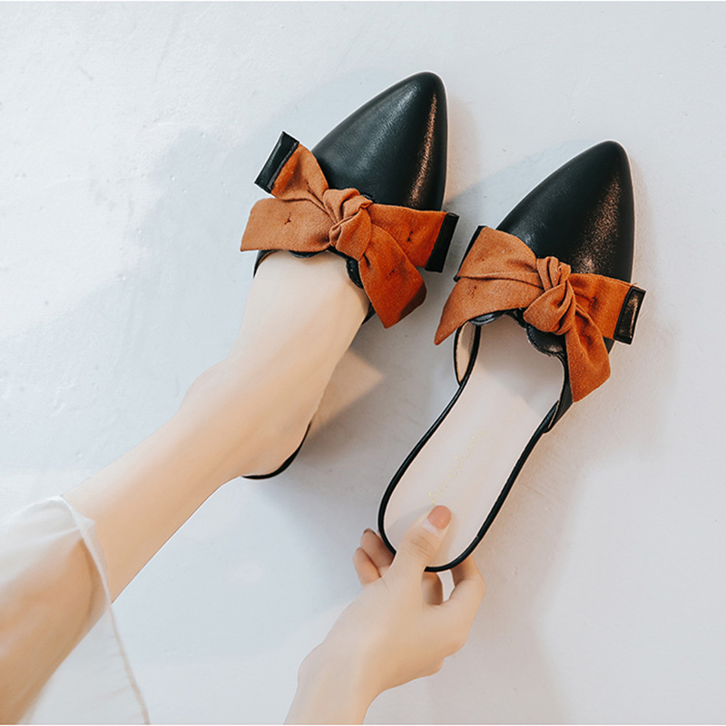 2020 Pointed Toe Black Beige Women Mules Slippers Flats Butterfly Loafers Woman Casual Shoes 11811ABX2060