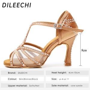 Image 2 - Dileechi sapatos de dança latina, mulheres sapatos de dança festa cetim malha brilhante strass salsa sandálias de dança 9cm