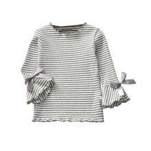 Детские осенние Рубашки в полоску с принтом для девочек хлопковые блузки Весенняя Детская футболка с расклешенными рукавами Топы для маленьких девочек