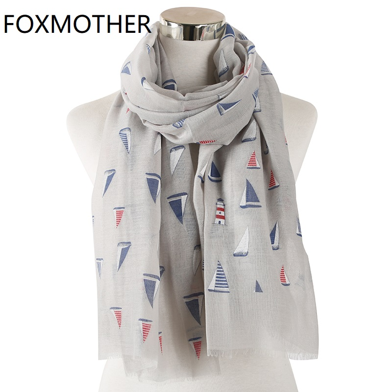FOXMOTHER New Foulard Femme Grey Pink Sailing Boat Print Scarves For Women Shawl Wrap Bufanda Mujer