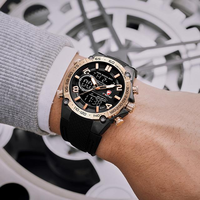 Men analog and digital watch
