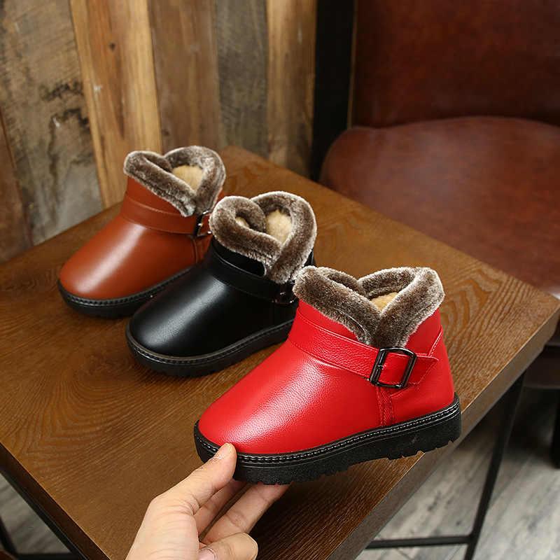 Botas De Nieve De Invierno Botas De Cuero Para Niños Con Vestido De Piel Gruesa Zapatos Zapatillas Negras Para Niñas Niños Pequeños Mejores Zapatos