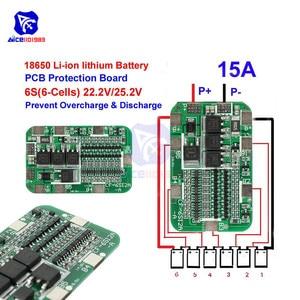 Image 4 - Diymore 6S 15A 24V PCB Placa de protección BMS para paquete de 6 Módulo de celda de batería de litio de iones de litio 18650