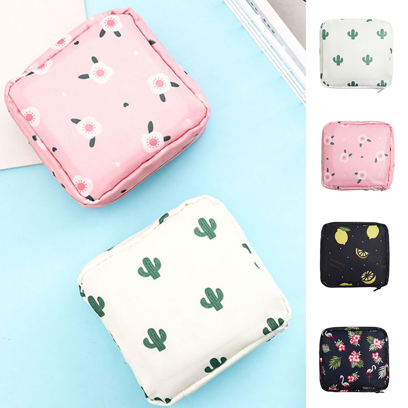 Small Square Cosmetic Zipper Bag Women Flower Printed Travel Mini Make Up Coin Card Lipstick Storage Pouch Purse Bag