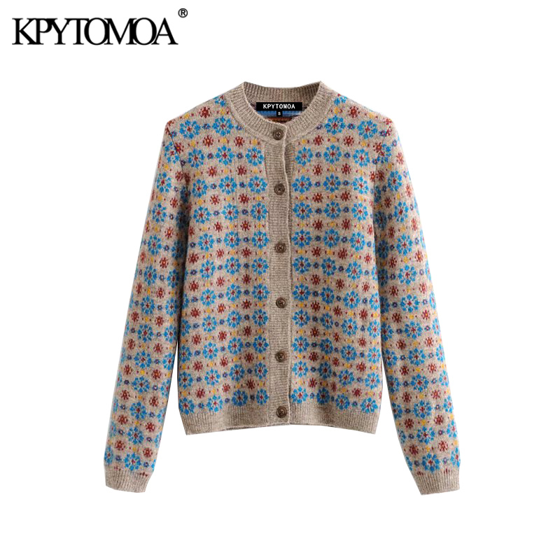 Vintage Stylish Floral Pattern Knitted Cardigan Sweater Women 2020 Fashion O Neck Long Sleeve Female Outerwear Chic Tops