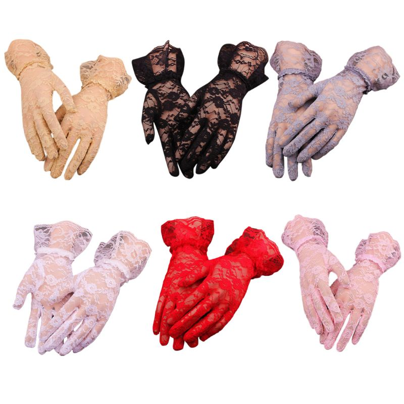 Women Summer UV Protection Floral Lace Gloves Jacquard Wedding Ruffles Mittens LX9E