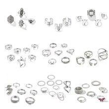 Tocona Einfache Geometrische Sterne Mond Silber Farbe Ringe für Frauen Punk New Fashion Boho Joint-Finger-Ringe Set Schmuck Zubehör