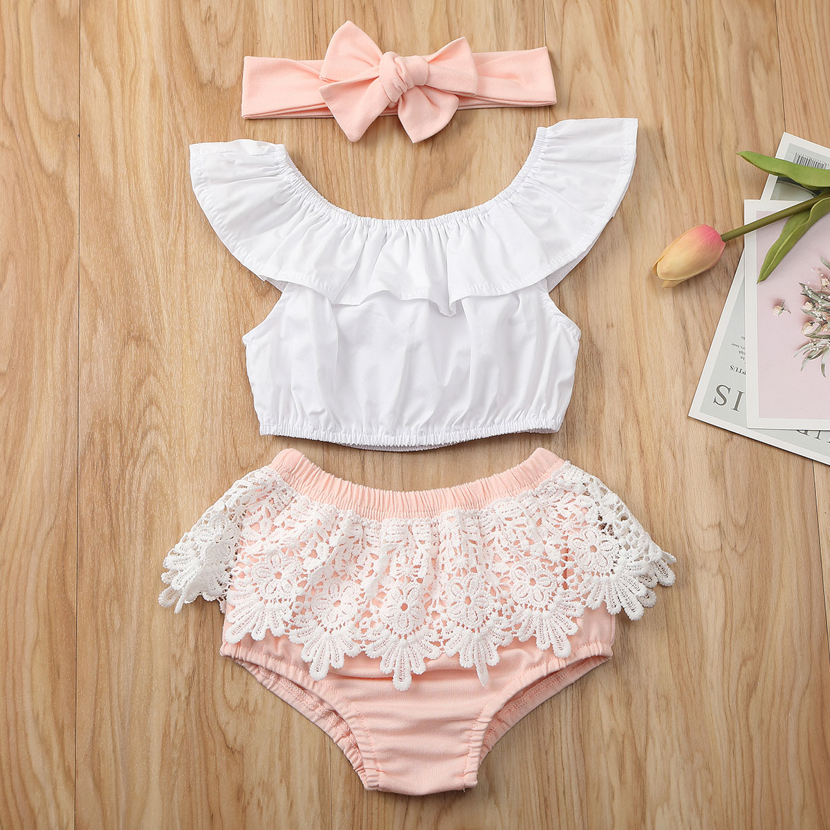 Emmababy Newborn Baby Girl Clothes Summer Solid Color Off Shoudler Ruffle Tops Lace Short Pants Headband 3Pcs Outfits Sunsuit