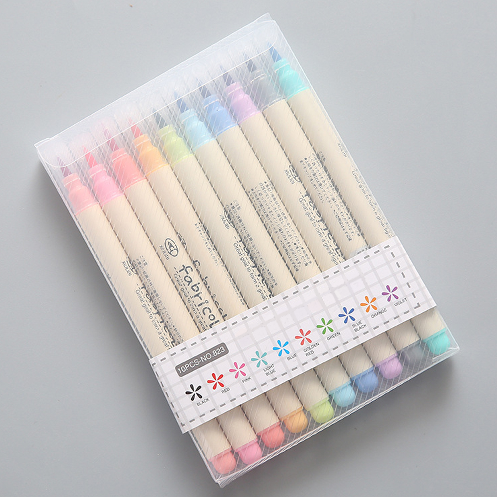 10pcs Brush Pen Soft RFID Blocking Watercolor Pen Fabricolor Stationery Highlighter Safe Drawing Pen Set School Supplies